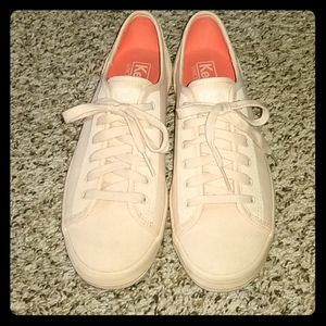 Ballet pink womens lace up Keds